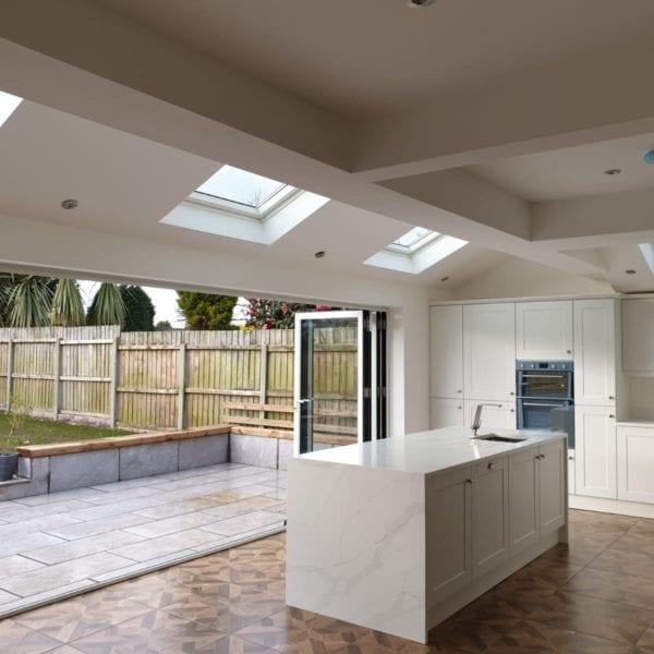 Open bifold doors from kitchen extension in Liverpool
