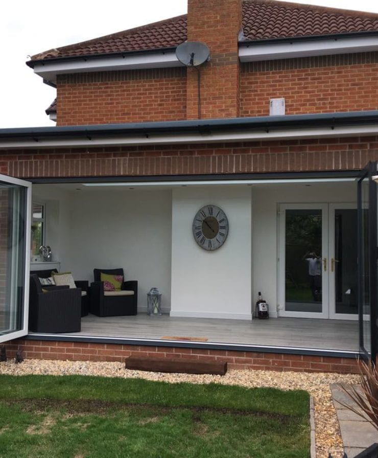 Open bifold doors from living room in Liverpool